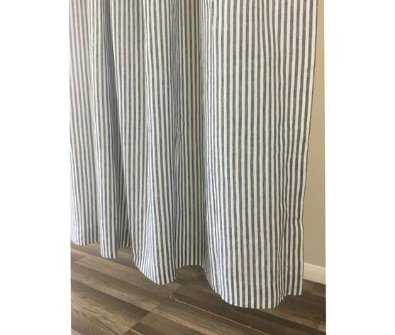Navy and White Striped Curtain   Handcrafted by SuperiorCustomLinens.com