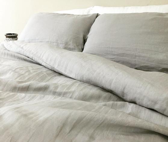 ... Light Grey Linen Duvet Cover ...