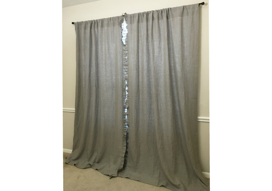 ... Natural Linen Curtains With Leading Edge Ruffles   Pick Your Color ...