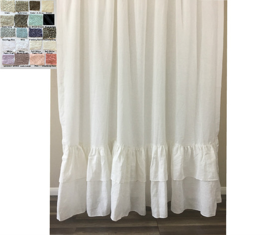 Linen Shower Curtain with double ruffle-White, Gray, Blue, Pink ...