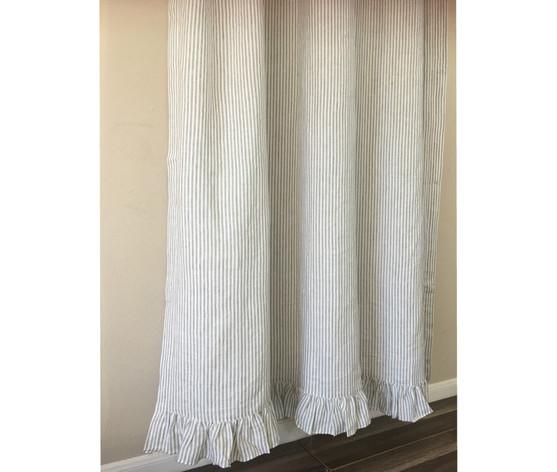 ... Grey Stripe Linen Shower Curtain Features Ruffle Hem ...