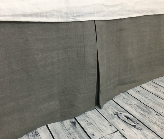 Medium Grey Tailored Linen Bed Skirt ...