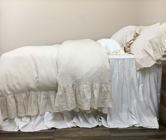 ... Waterfall Ruffle Duvet Cover Cream Linen ...