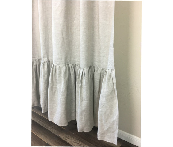 white linen shower curtain.  Linen Shower Curtain with Mermaid Long Ruffles Pick Color