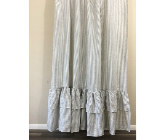 self hem ruffles with grey curtain striped stone and ruffle linen white shower ticking