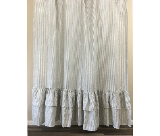 Grey and White Striped Shower Curtain with 2 Tiered Mermaid Ruffles