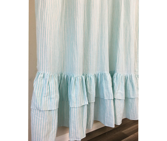 teal striped shower curtain. Green and White Striped Shower Curtain with Two Tiered Ruffles  Linen