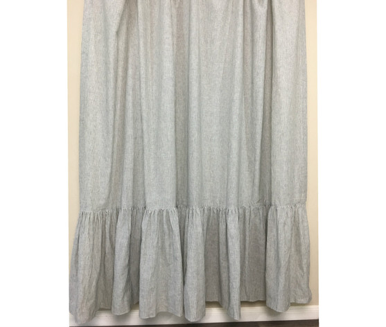Black And White Ticking Striped Shower Curtain With Mermaid Long Ruffles