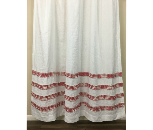 White Shower Curtain With Red Ticking Stripe Rows Of