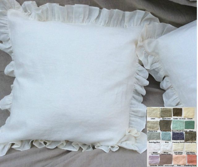 Ruffle Euro Sham Natural Linen White Grey Cream Pink