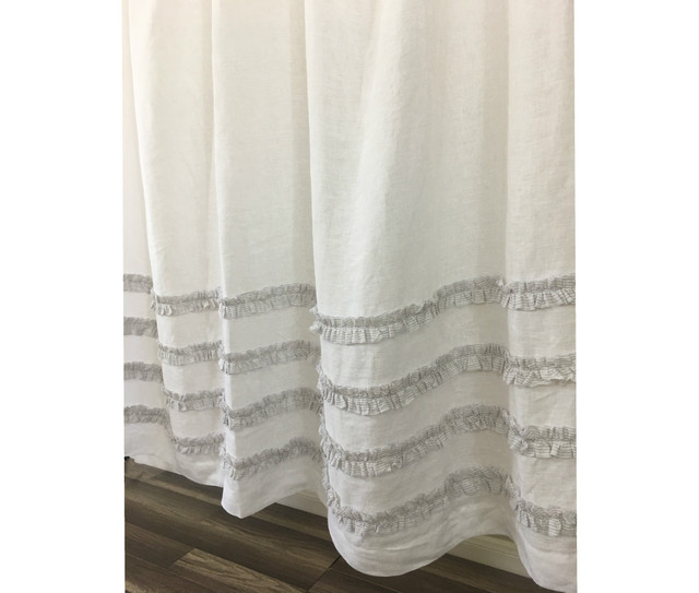 grey ticking stripe ruffle shower curtains handcrafted by. Black Bedroom Furniture Sets. Home Design Ideas