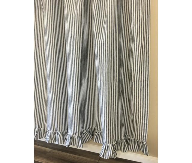 Dark Navy and White Striped Shower Curtain with Ruffle Hem ...