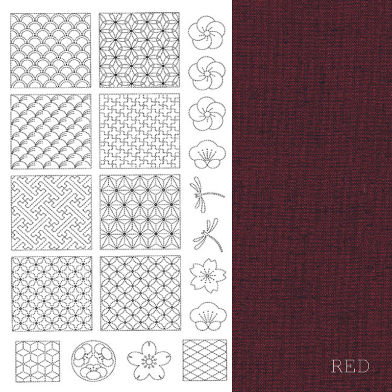 Sashiko Panel from BeBe Bold  1 Red BBSP1-2003