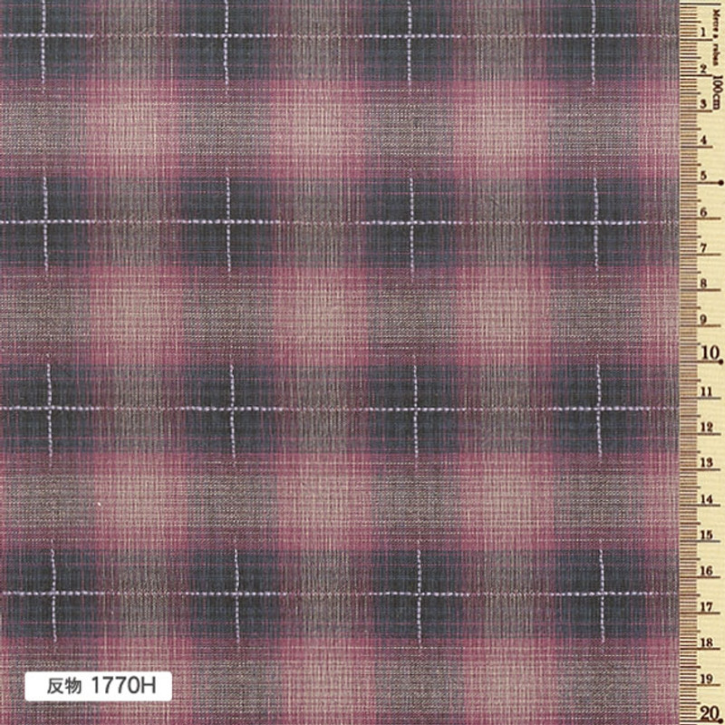 Sakizome Momen Yarn Dyed Fabric Colourful Check H Dark Red 1770H