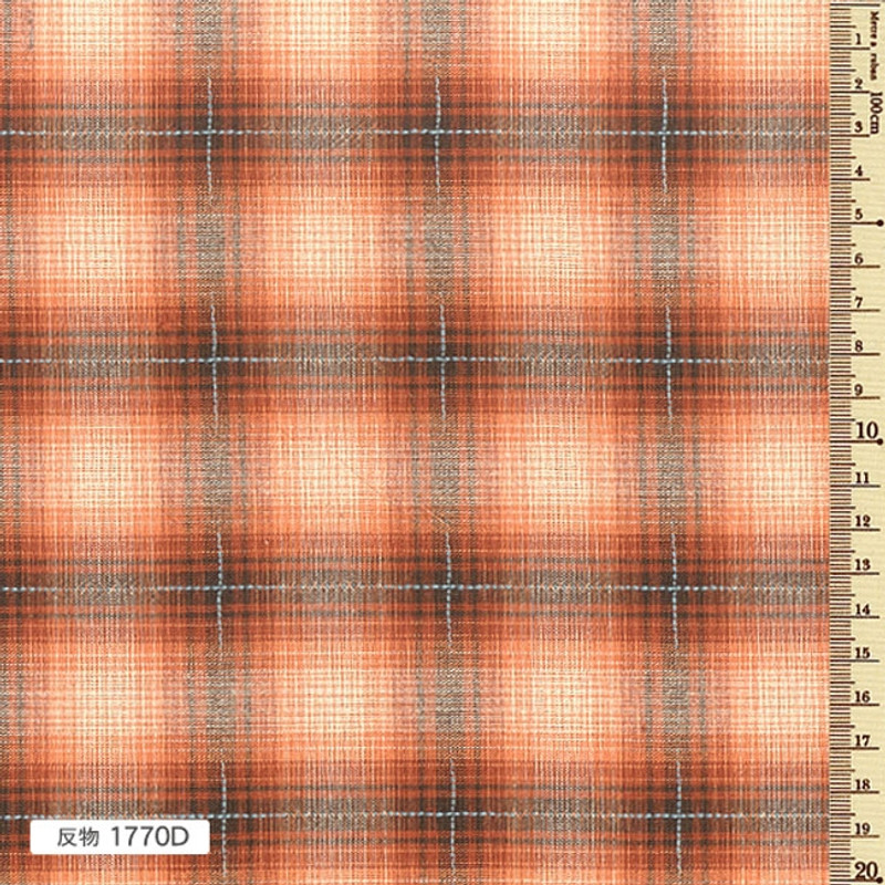 Sakizome Momen Yarn Dyed Fabric Colourful Check D Orange 1770D
