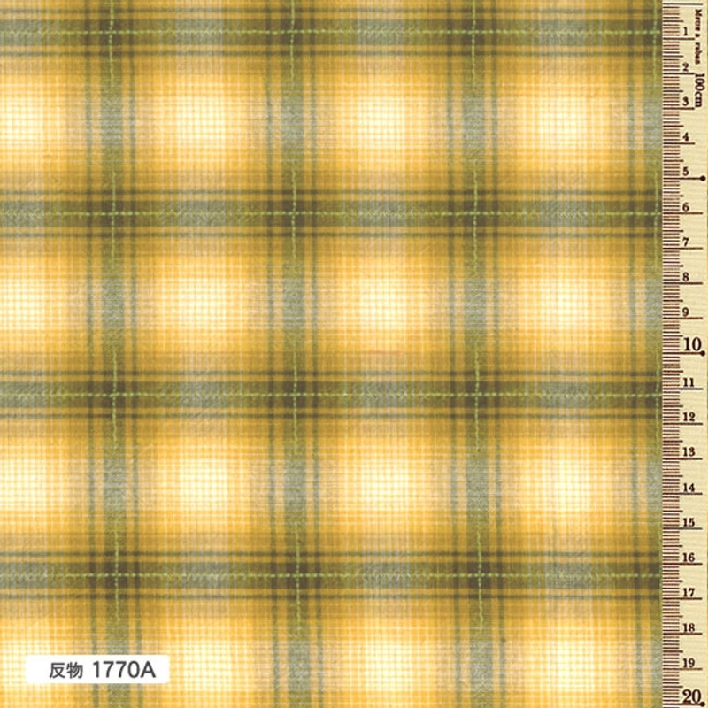 Sakizome Momen Yarn Dyed Fabric Colourful Check A Yellow 1770A