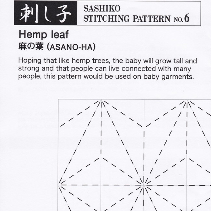 Sashiko Stitching Pattern Hemp Leaf (Asano-Ha) PSS-6
