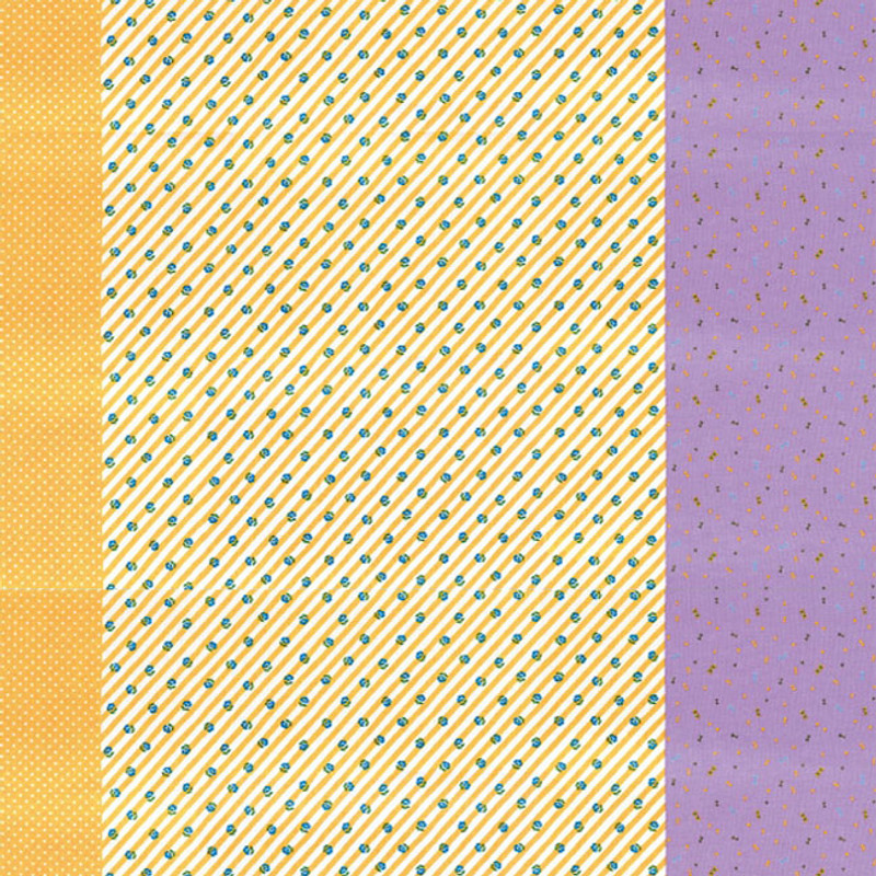 Printed Cotton Fabric Nicotto-Yellow & Purple F-9109