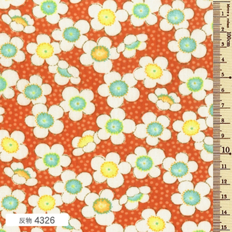 Printed Cotton Fabric Soleil Fall Blossom Orange F-4326