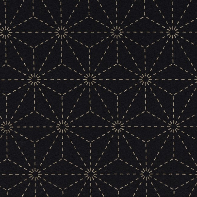 Stencilled Sashiko Fabric Asanoha Black