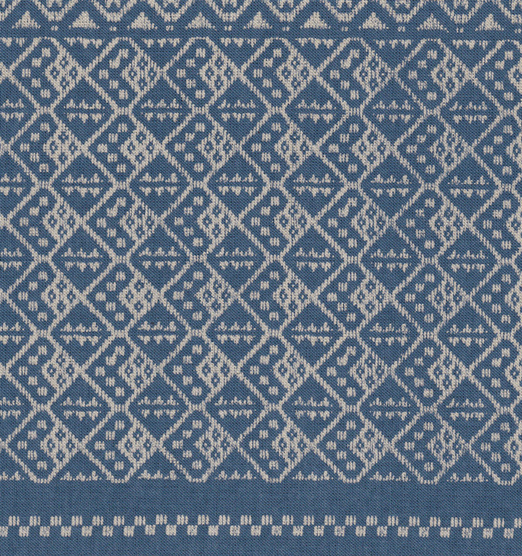 Takumi Printed Cotton Fabric Kogin Patterns Light Blue 14N-6C