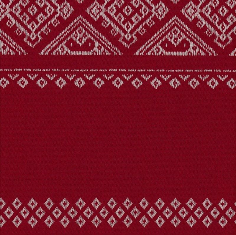Takumi Printed Cotton Fabric Kogin Patterns Red 14N-6SR