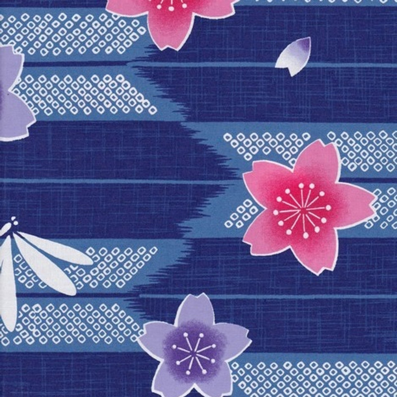 Yukata Printed Cotton Fabric Multi-Coloured TY-0534