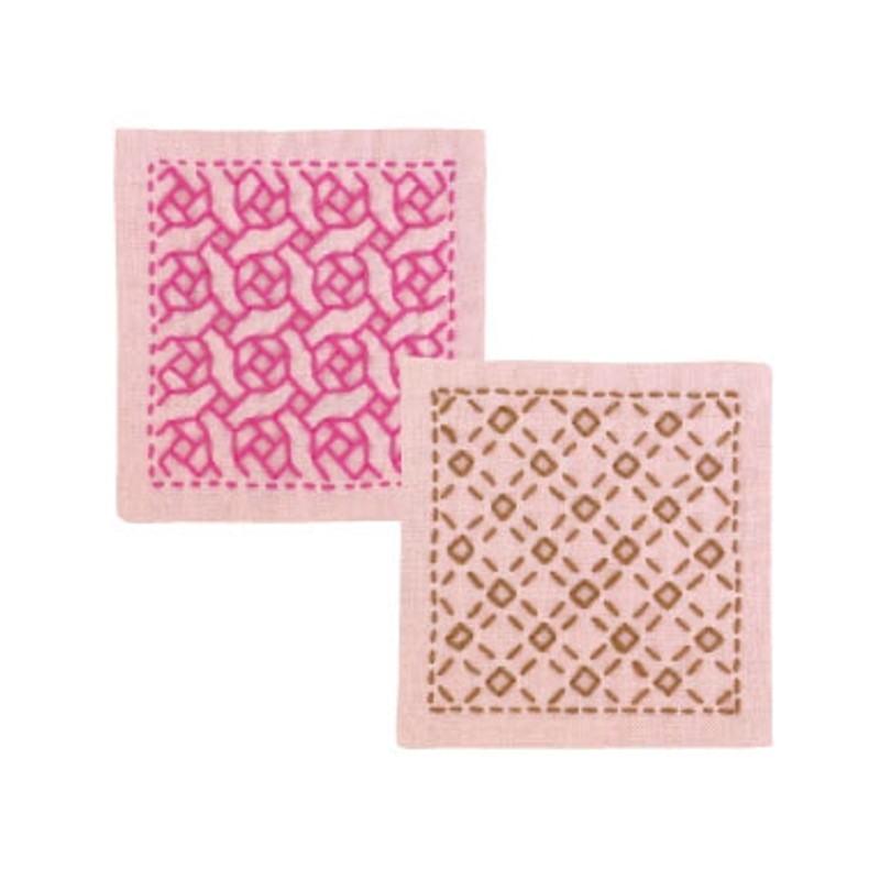 Sashiko Coaster Kit - Rose & Check