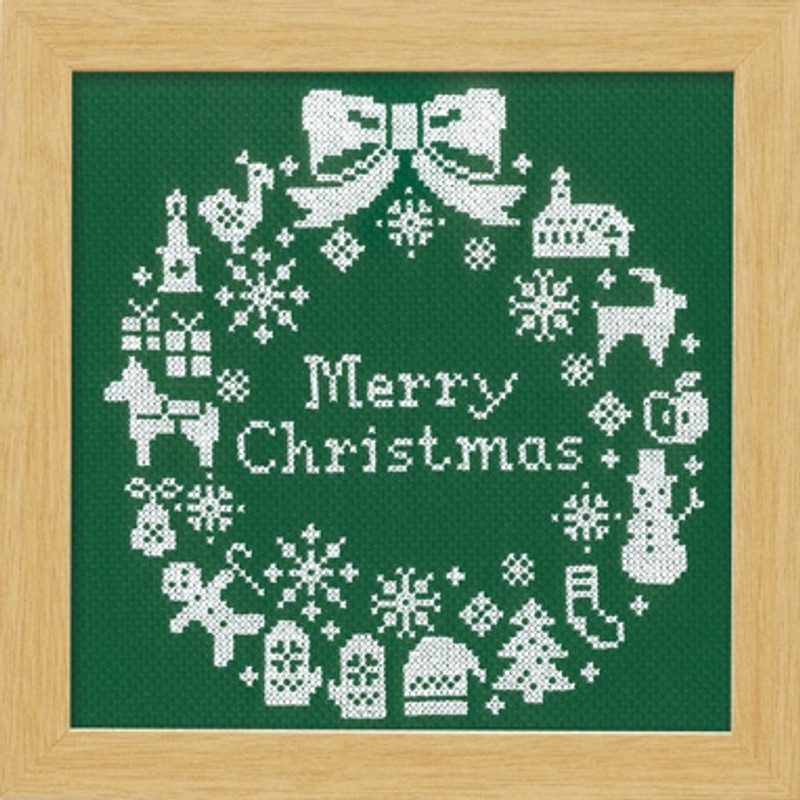 Green Christmas Wreath Cross-stitch X-101