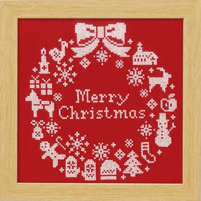Red Christmas Wreath Cross-stitch X-100