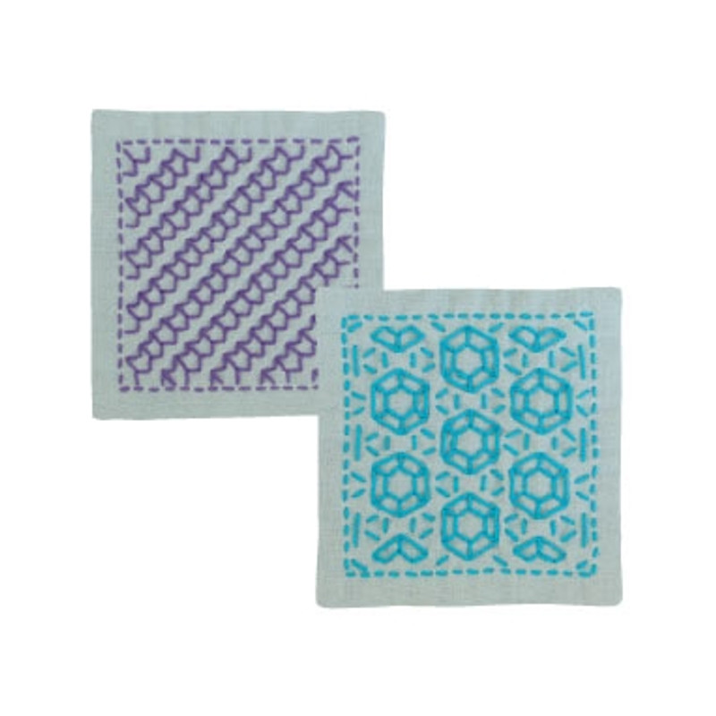 Sashiko Coaster Kit 299 - Arrow Feather & Diamonds SK-299