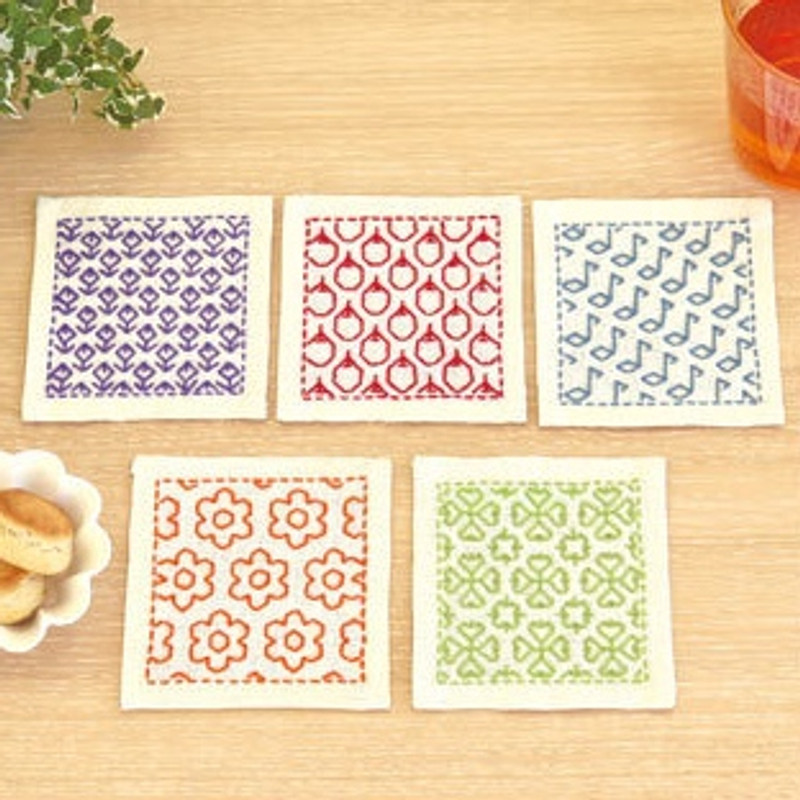 Sashiko Coaster Kit 315 - Various Designs SK-315