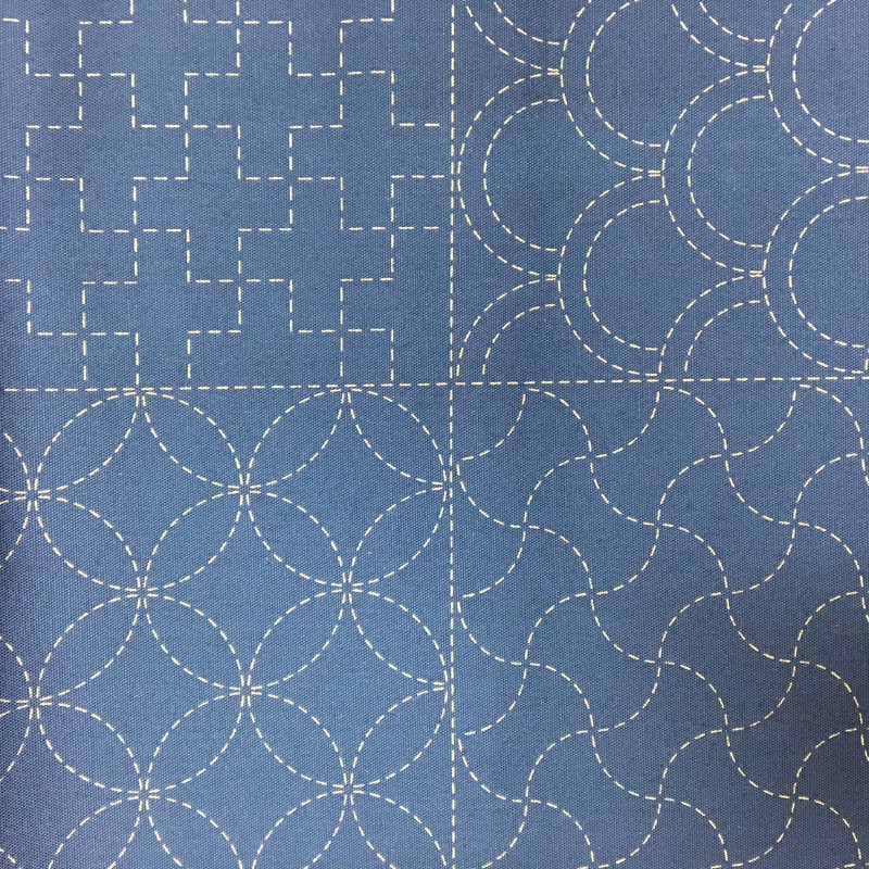 Stencilled Sashiko Fabric Panel Navy Blue Close Up