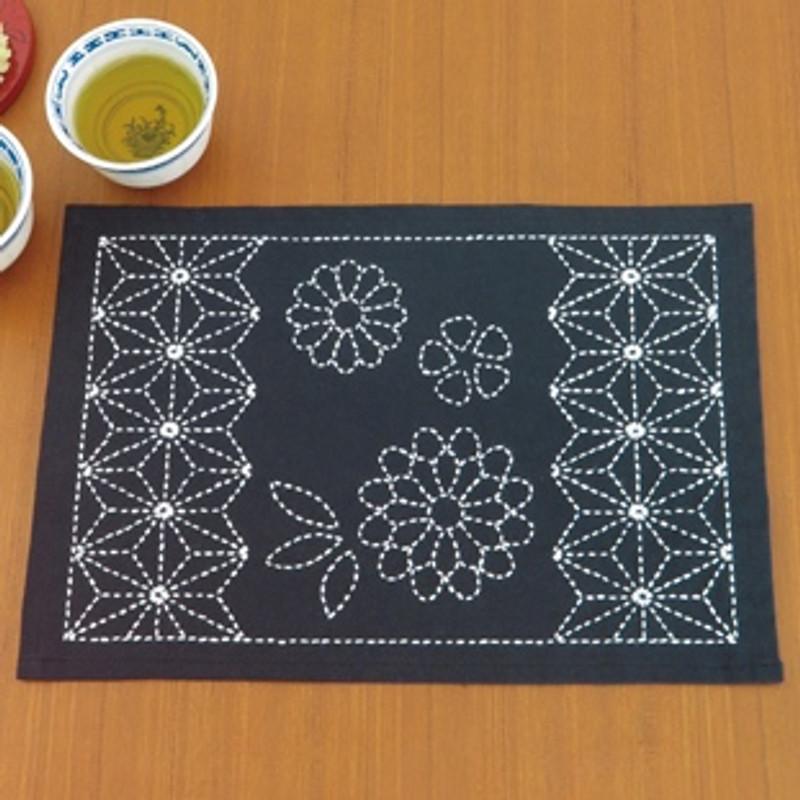 Olympus Sashiko Kit  Place Mat - Asanoha & Chrysanthemum SK-312