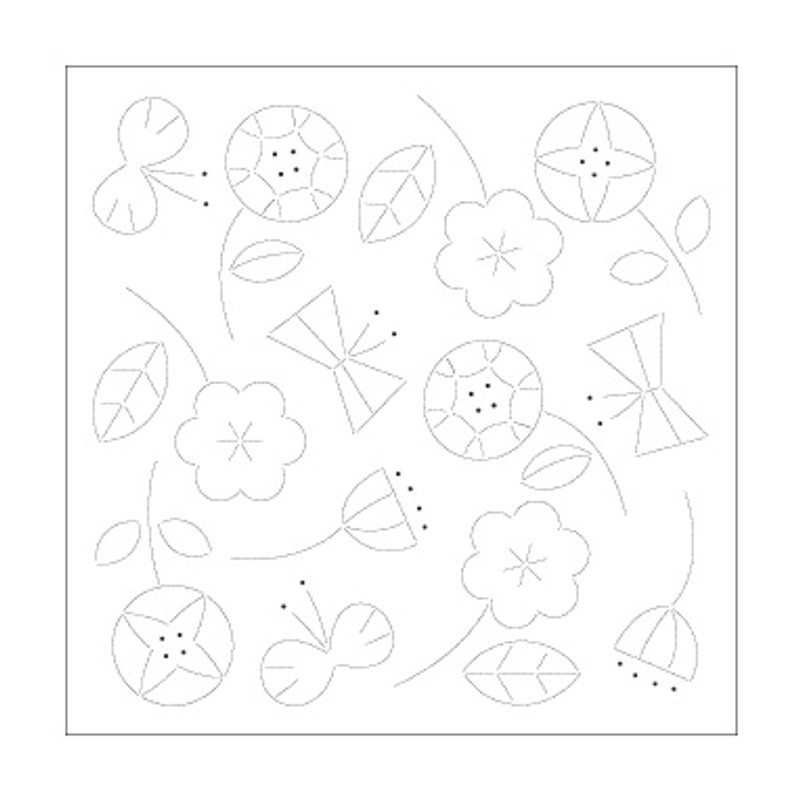 Sashiko Sampler Happy Flowers & Butterflies SS-H-1028