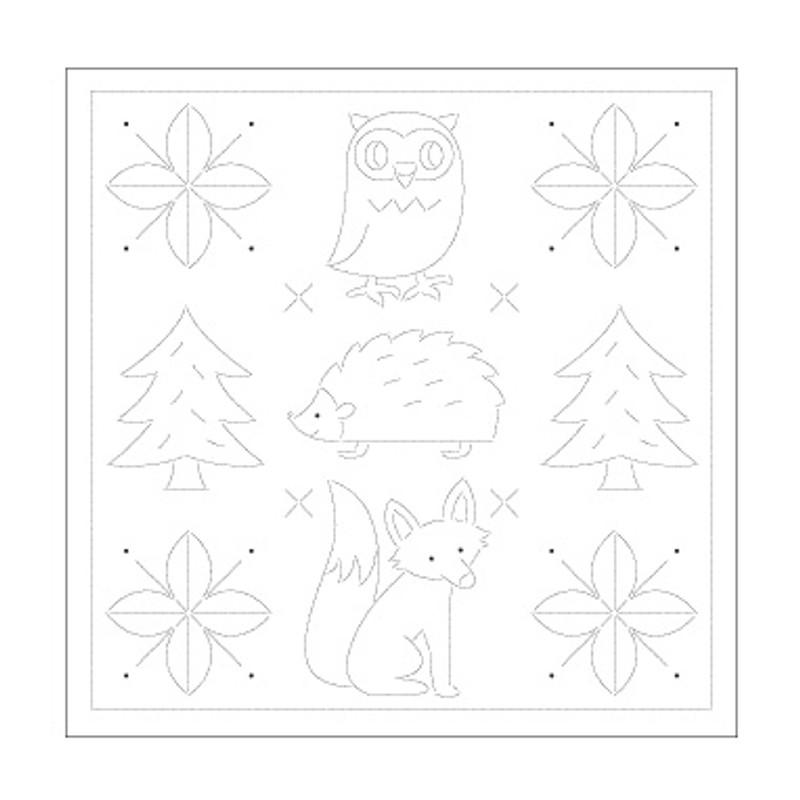 Sashiko Sampler Sweet Animals and Christmas trees SS-H-1031