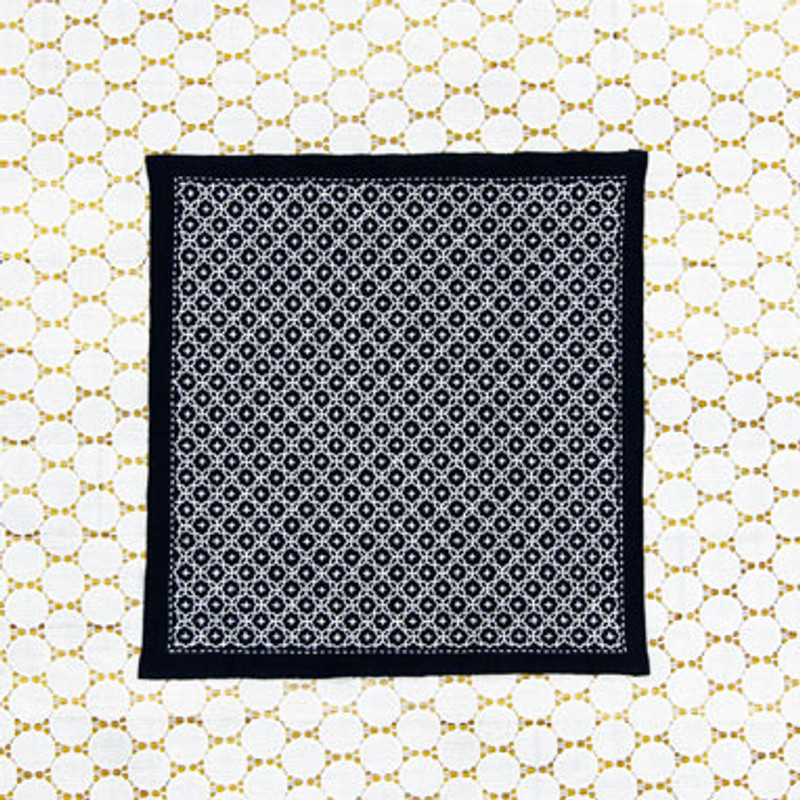 One Stitch Sashiko Sampler Kit Linked Crosses Navy SK-333