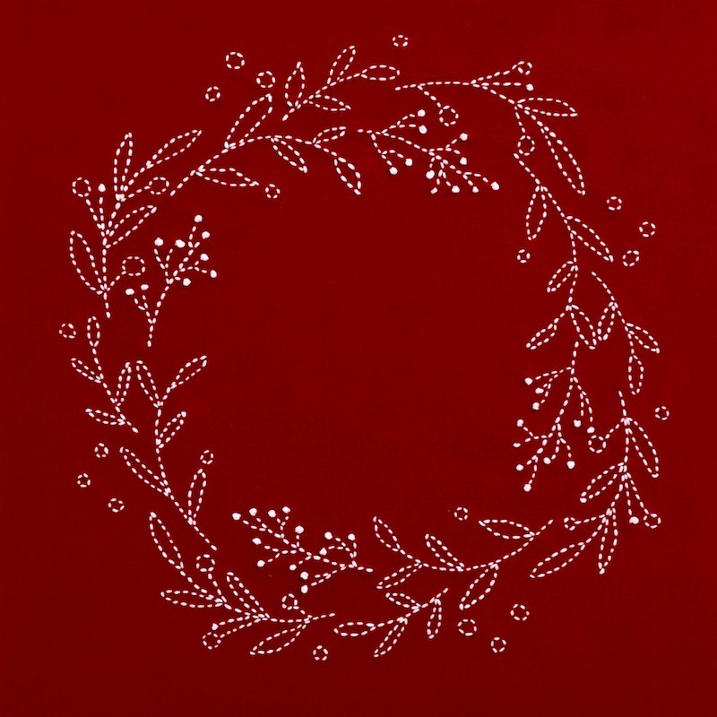 Sashiko Christmas Wreath Pattern SKCW-102017