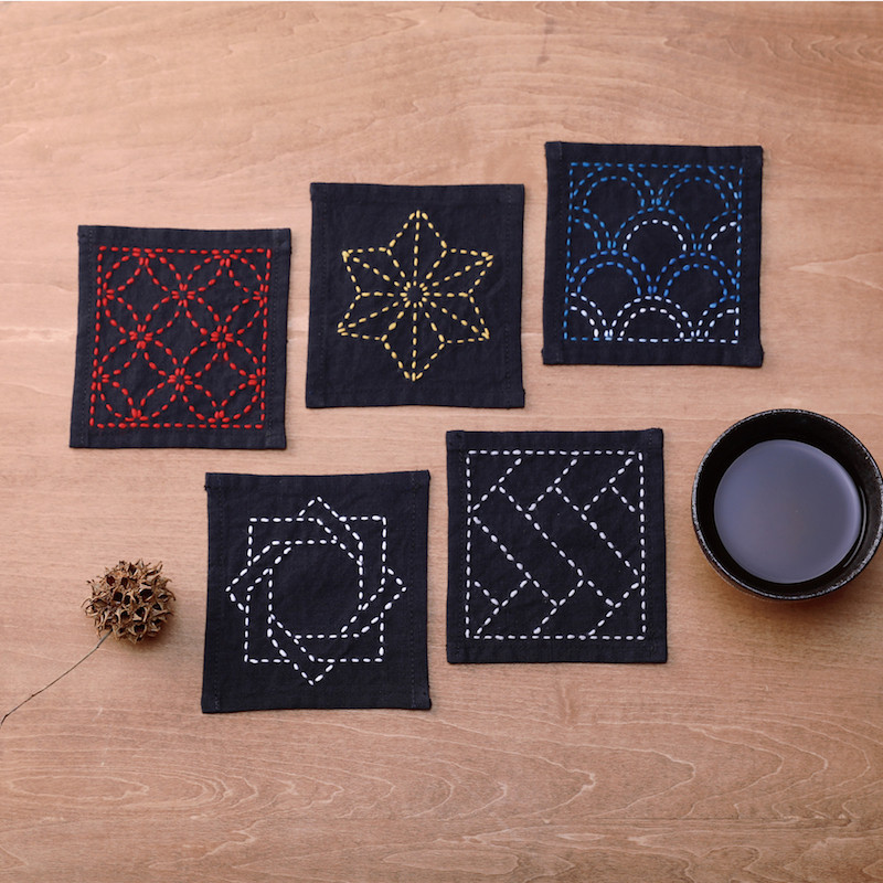 Sashiko Coaster Collection Ink Black TC-1