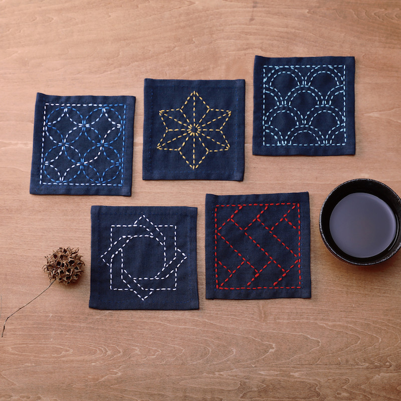 Sashiko Coaster Collection Navy Blue