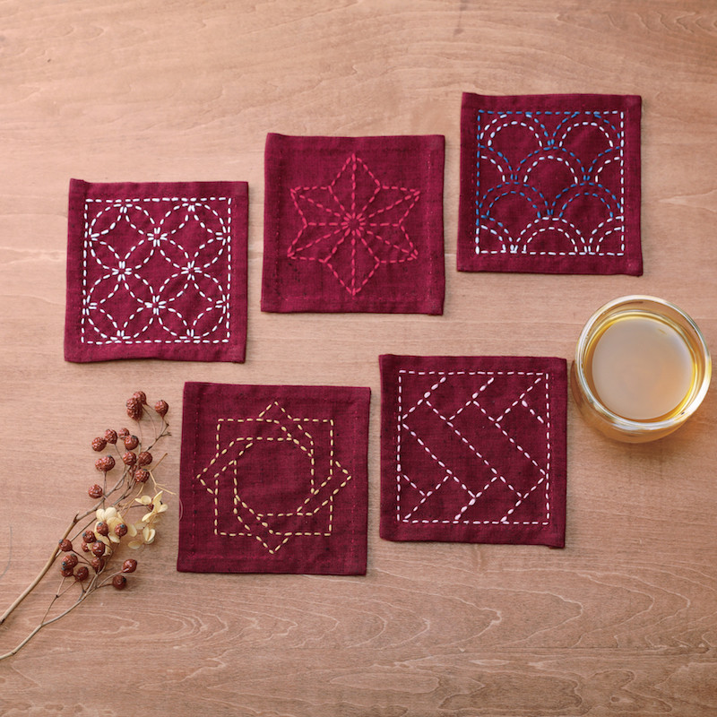 Sashiko Coaster Collection Deep Red TC-3