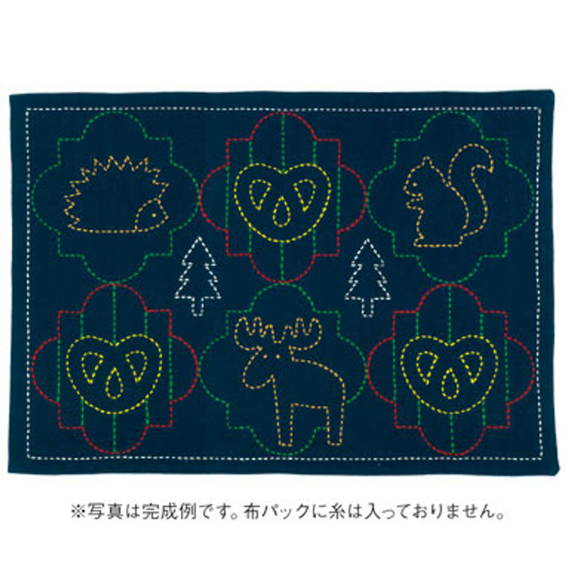 Sashiko Black Forest Animals Placemat L-2005