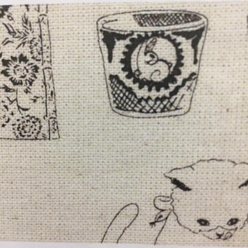 Takumi Printed Cotton Off White Fabric 14N-8AA