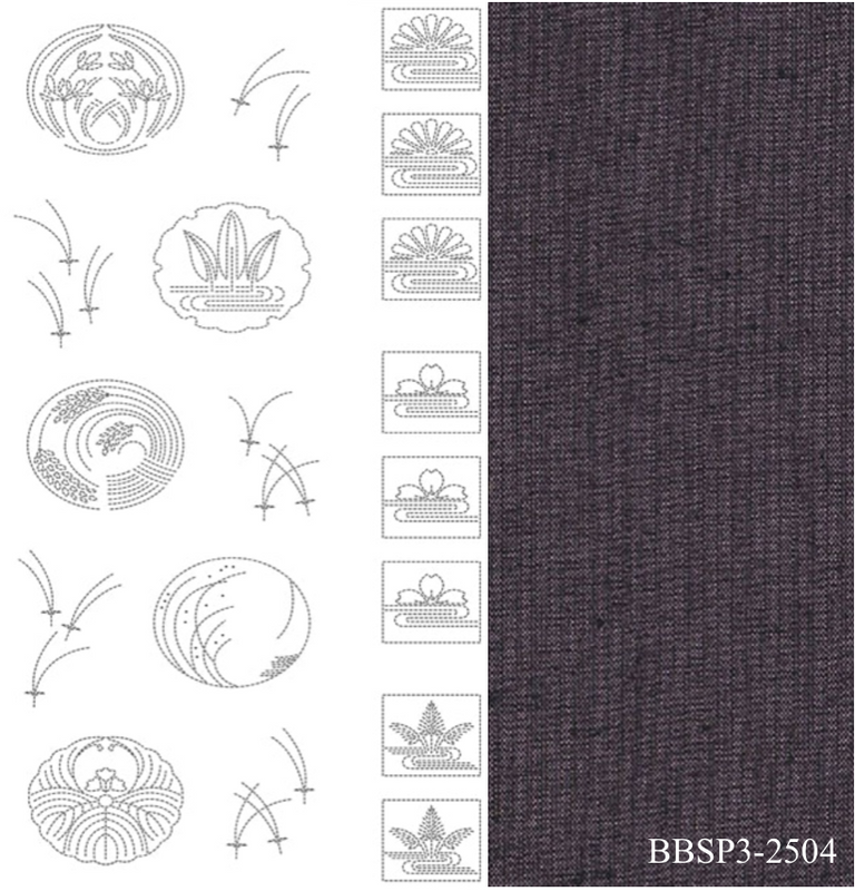 Sashiko Panel from BeBe Bold 3 Purple BBSP3-2504