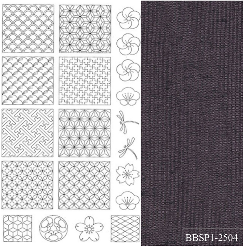 Sashiko Panel from BeBe Bold 1 Purple BBSP1-2504