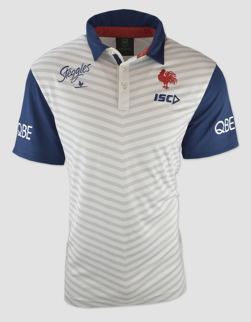 Sydney Roosters 2017 Mens Players Polo - White/Navy