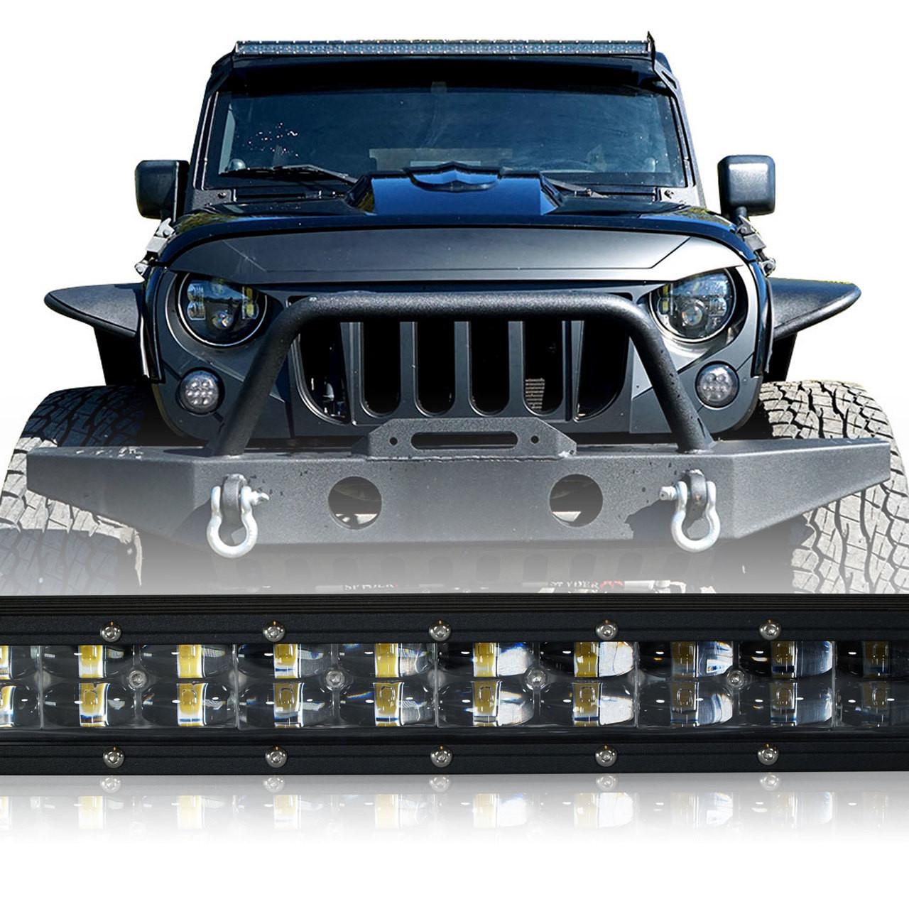 LED Light Bar 288W 50 Inches Bracket Wiring Harness Kit for Wrangler