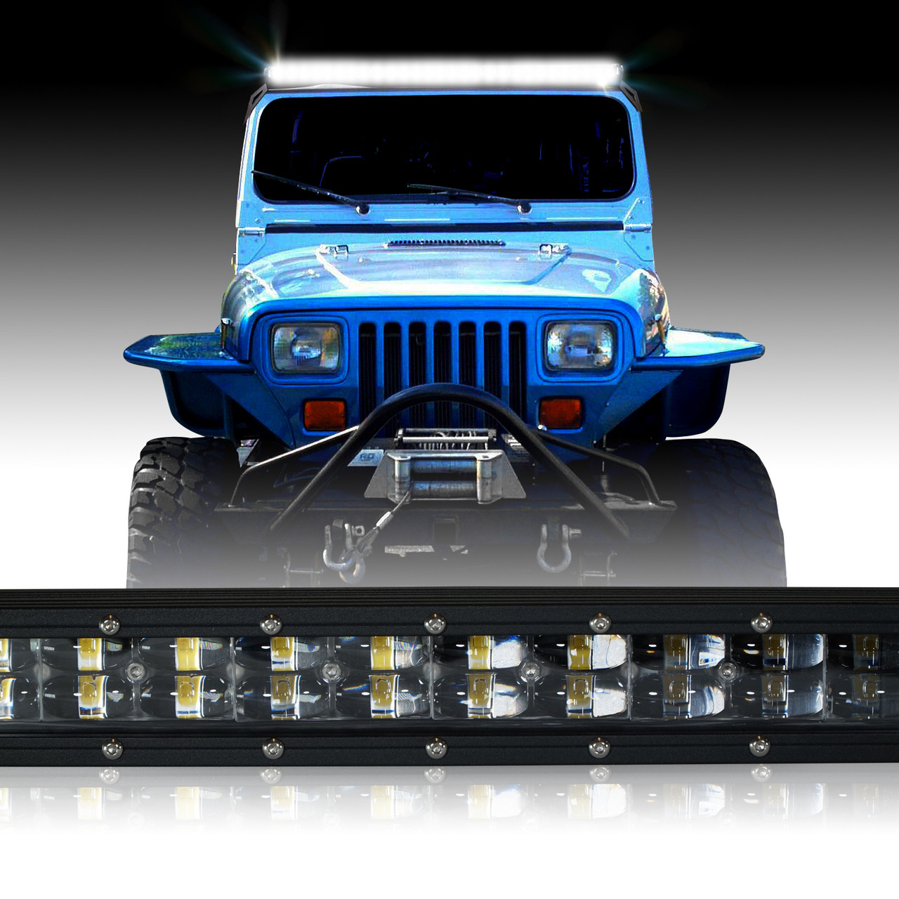LED Light Bar 288W 50 Inches Bracket Wiring Harness Kit