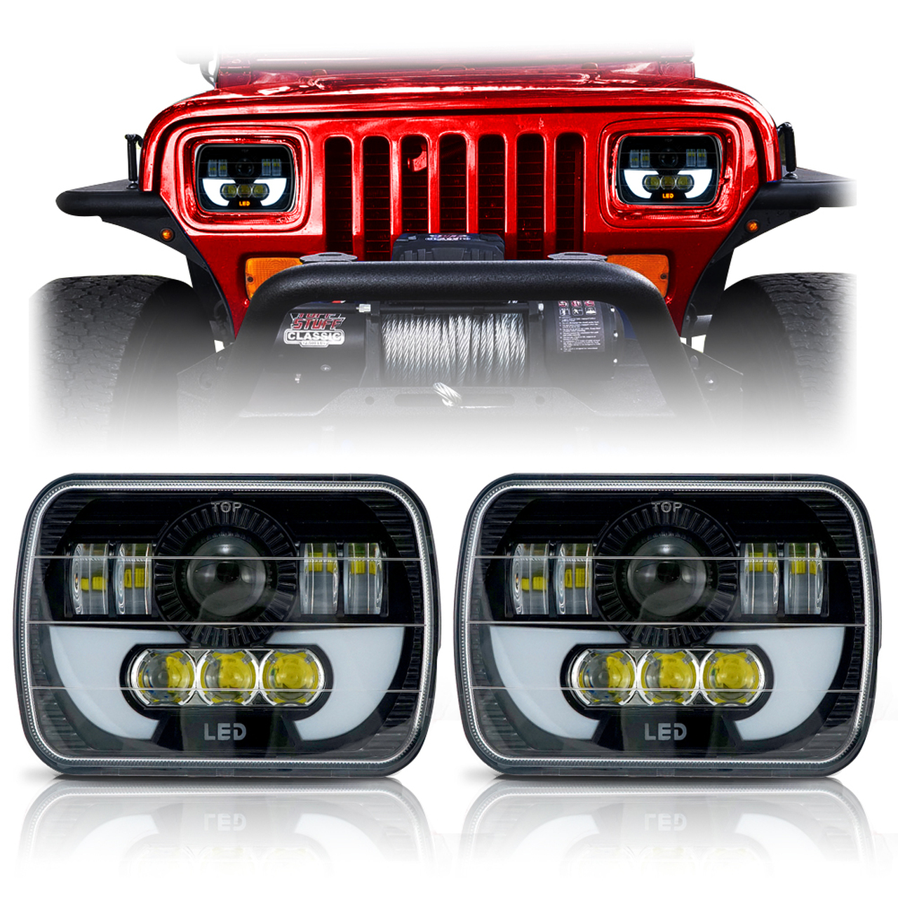 DEMON LED Black Projector Headlights w DRL for XJ and YJ