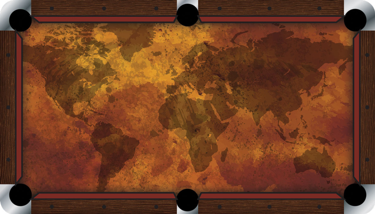 VIVID Grunge Map Pool Table Felt CueSightcom - Pool table painting